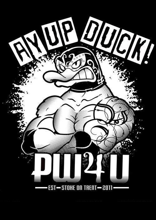 Image of PW4U Ay Up Duck Black T-Shirt