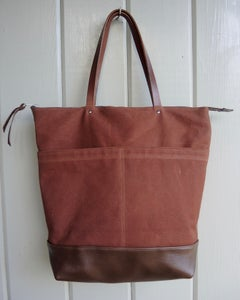 Image of Brown waxed canvas and leather tote