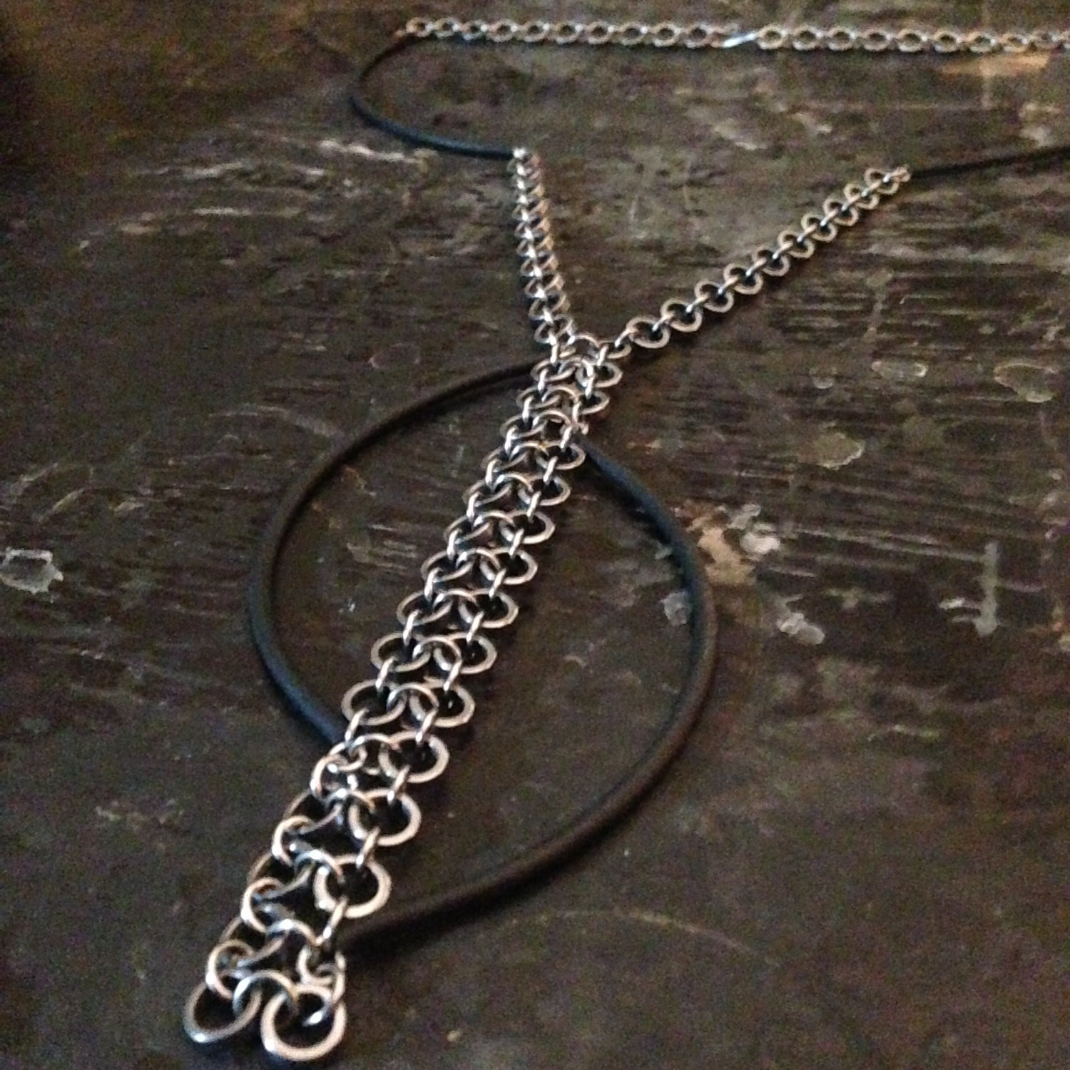 Image of Tension || Upcycled Bike Chain & Rubber Necklace