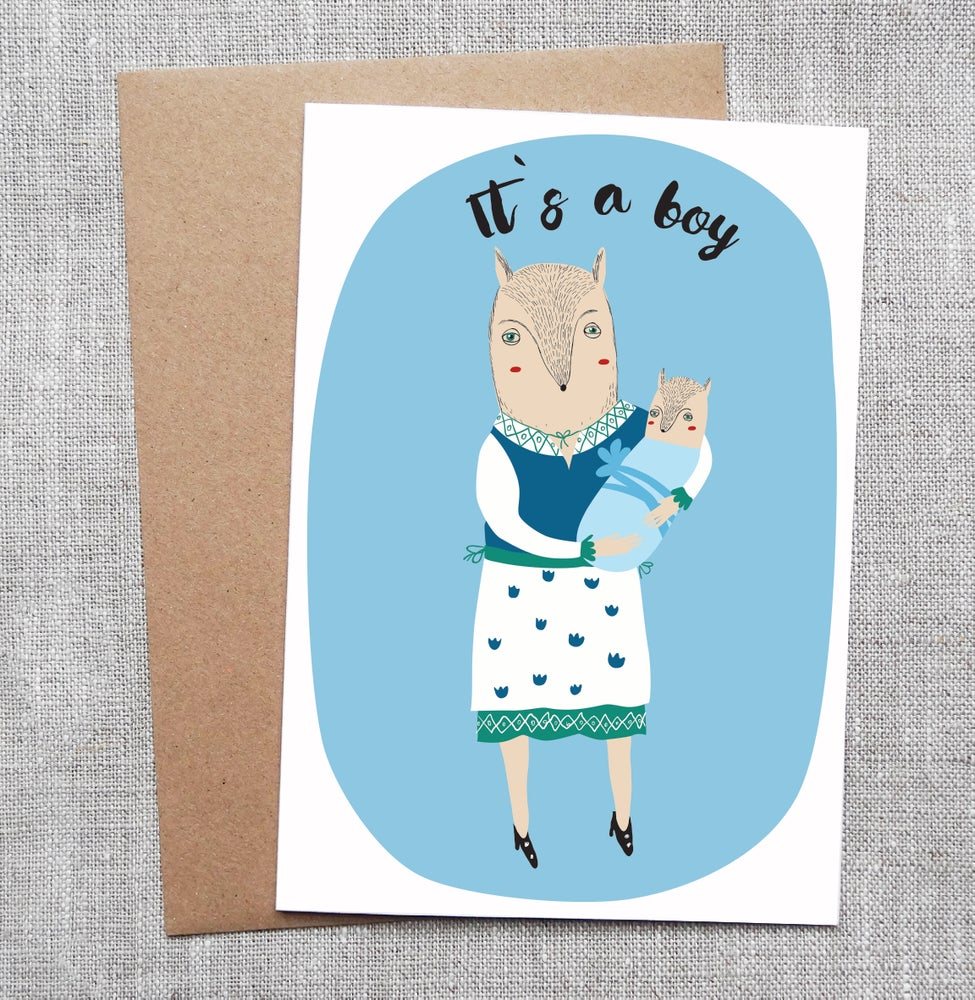 Sneaky Fox Graphics Illustrated Greeting Card Its A Boy