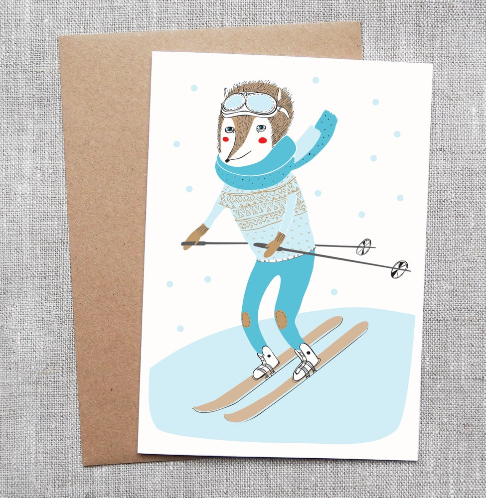 Sneaky Fox Graphics Illustrated Greeting Card Skiing Fox