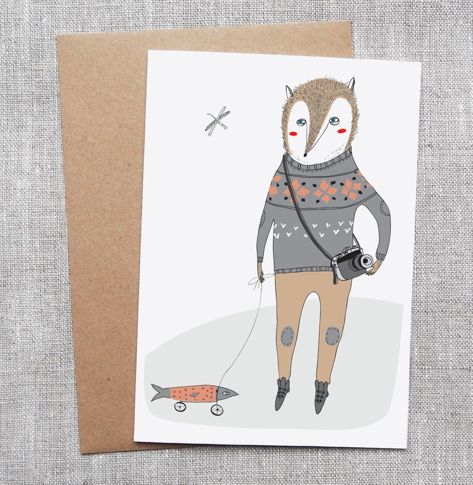 Sneaky Fox Graphics Illustrated Greeting Card Fox And A Fish