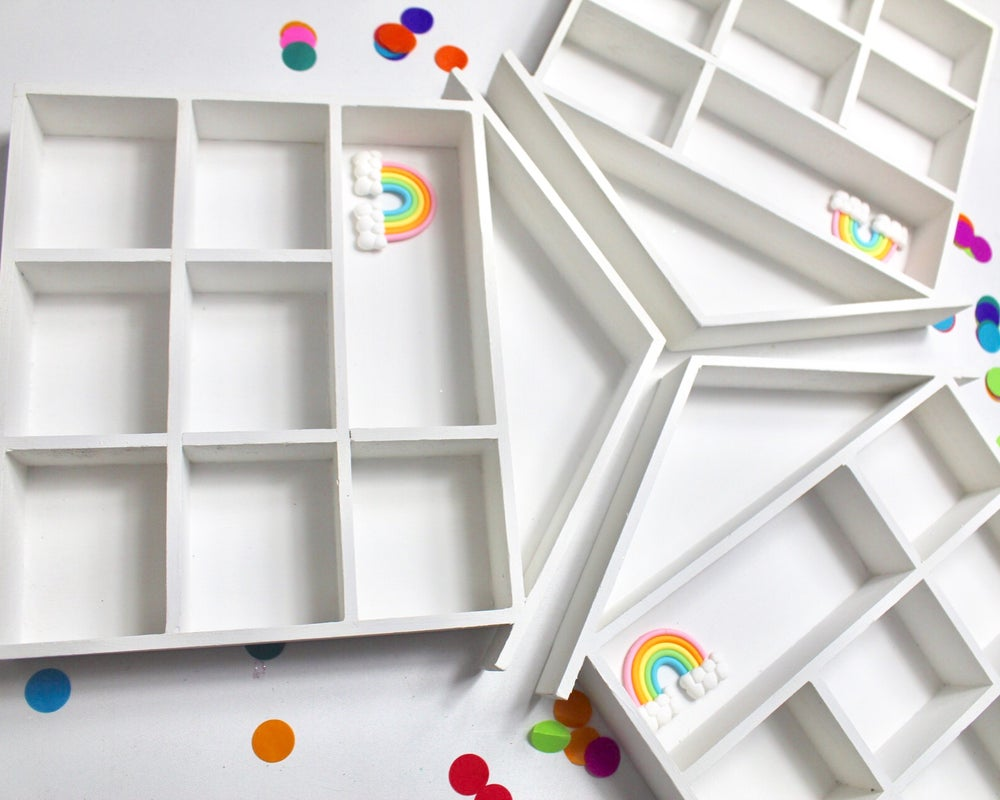 Image of House shelf displays - pastel, monochrome, rainbow, ,plain colour or glittered