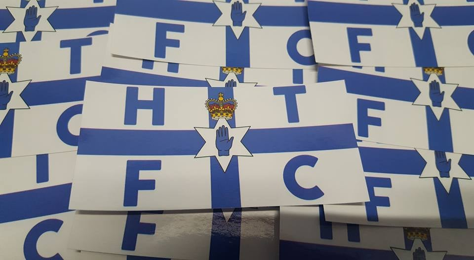 Huddersfield Town, Halifax Town, HTFC Blue Ulster Football/Ultras 10x5cm Stickers. Pack of 25.