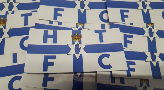 Image of Huddersfield Town, Halifax Town, HTFC Blue Ulster Football/Ultras 10x5cm Stickers. Pack of 25.