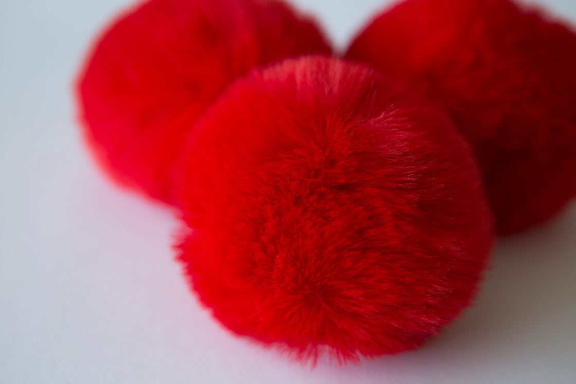 Image of Faux Fur Pompom - Red