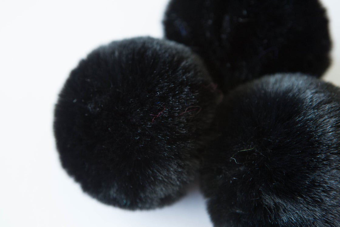 Image of Faux Fur Pompom - Black