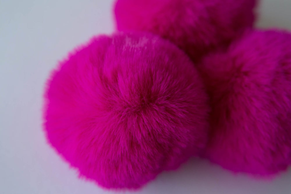 Image of Faux Fur Pompom - Magenta