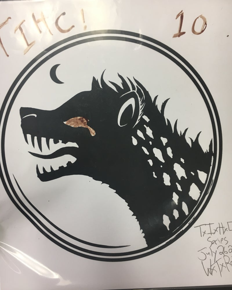 Image of Skull Logo or Hyena Logo blood art