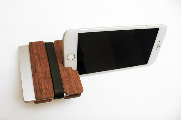 Image of Flexband Wooden Wallet Credit Card Holder/Phone Stand