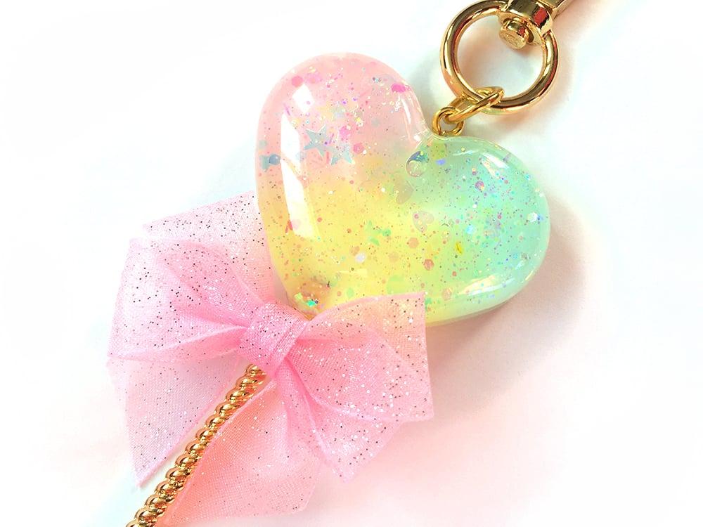 Image of Rainbow Sparkle Heart Lollipop Bag Charm