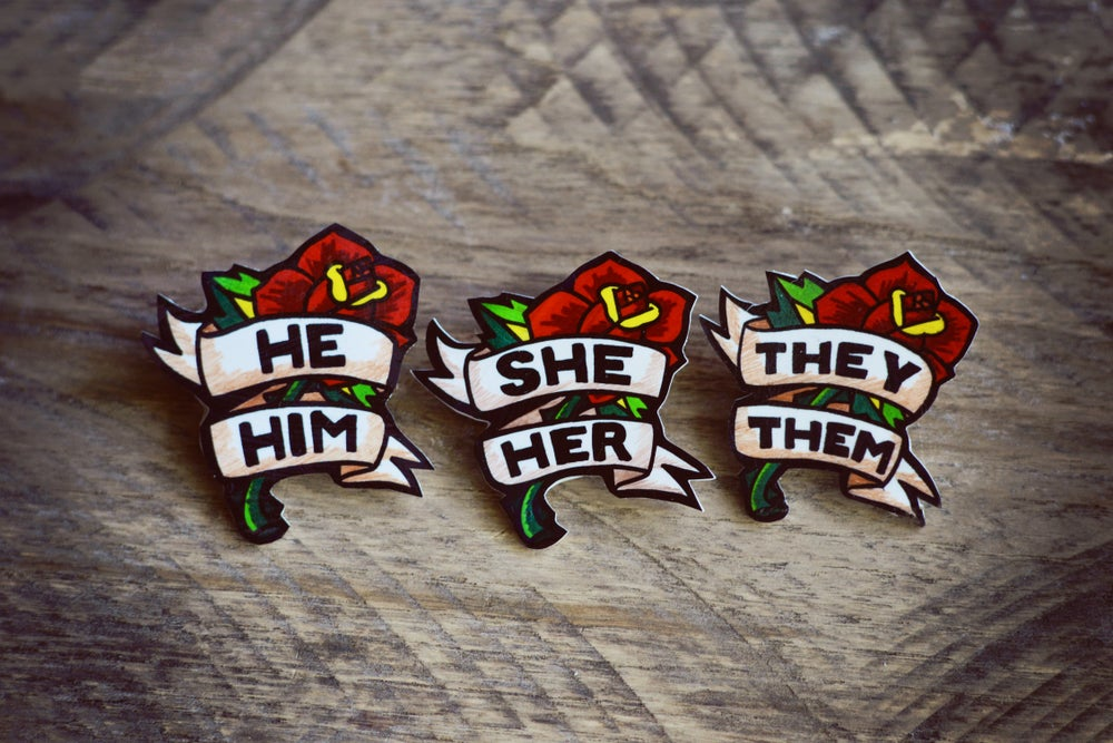 Image of Rose Pronoun Pin