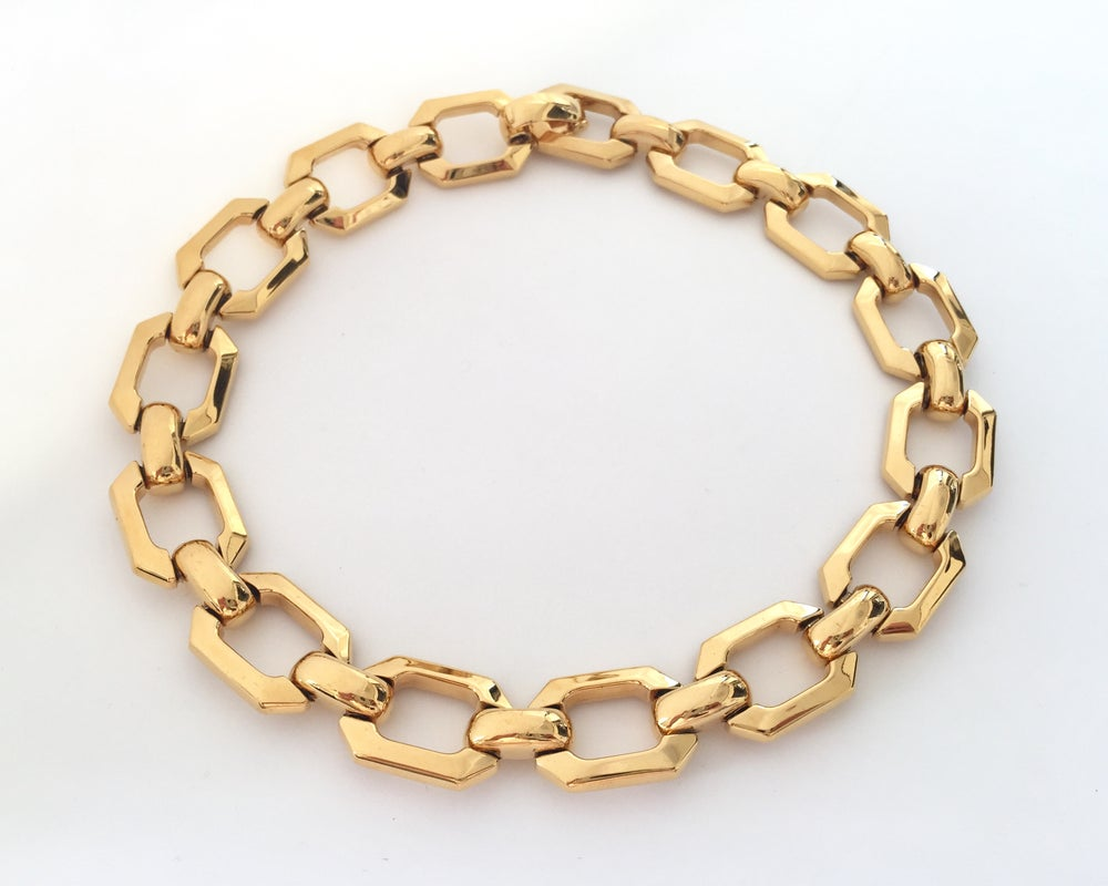 Image of Rare Authentic Vintage Christian DIOR Gold Tone Chunky Chain Choker Necklace