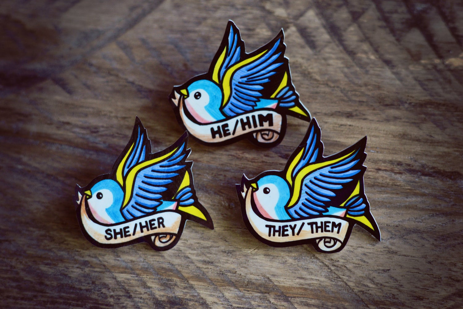 Image of Swallow Pronoun Pin