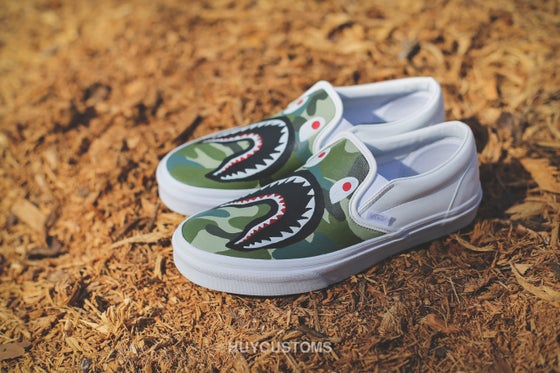 Image of Camo shark vans slip on