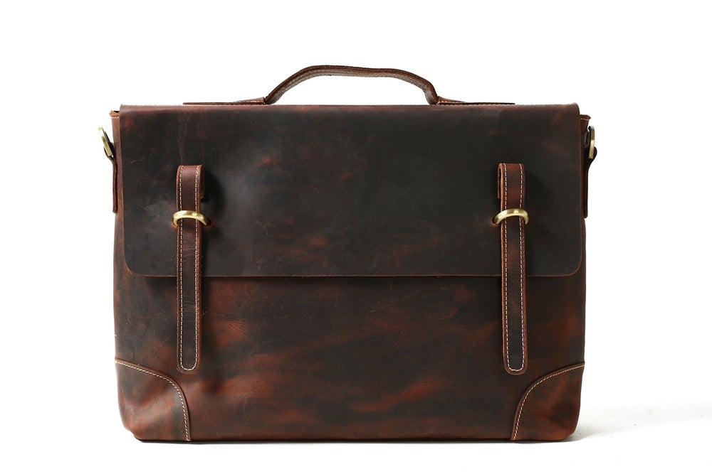 Image of Vintage Men Leather Briefcase, Messenger Bag, Laptop Bag 0341
