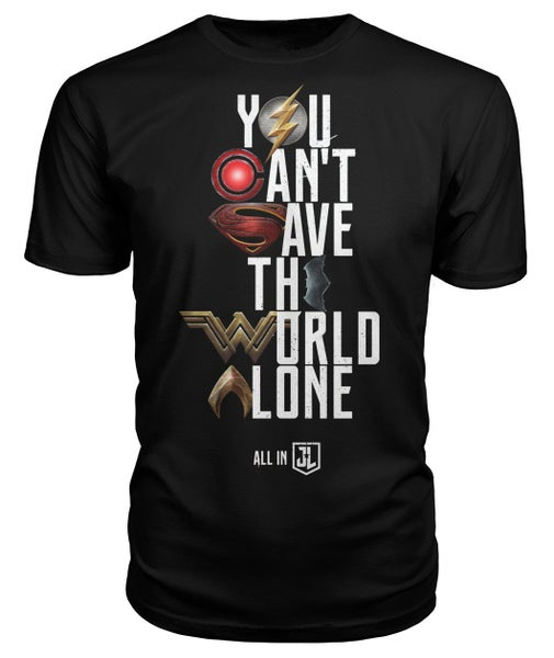 Image of Justice League You Can't Save the World Alone T-Shirt Symbol Edition - Black Unisex Tee