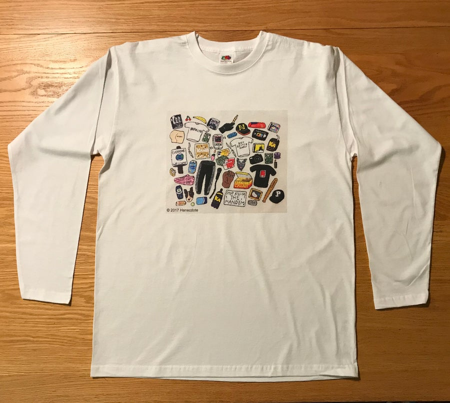 Image of Embroidered LDN - Ft Grime Print on White T-Shirt