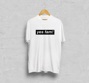 Image of yes fam! T-shirt Black Logo on White