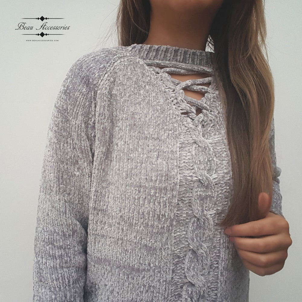 Image of Light Grey Chenille Jumper