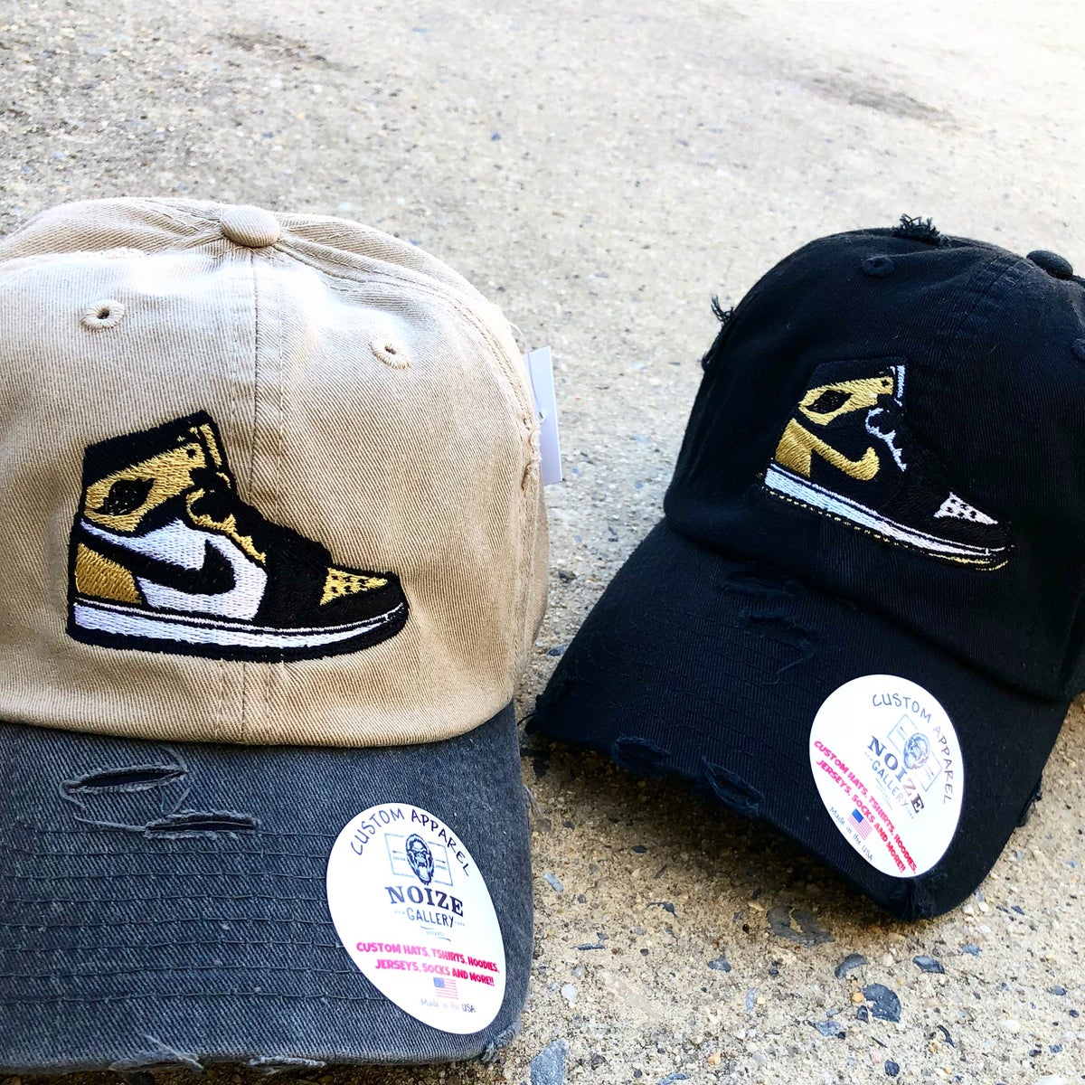 Top 3 ✨ Gold AJ1 Distressed✂️Dad Hats  PRE ORDER   Noize Gallery Apparel a7854fe72
