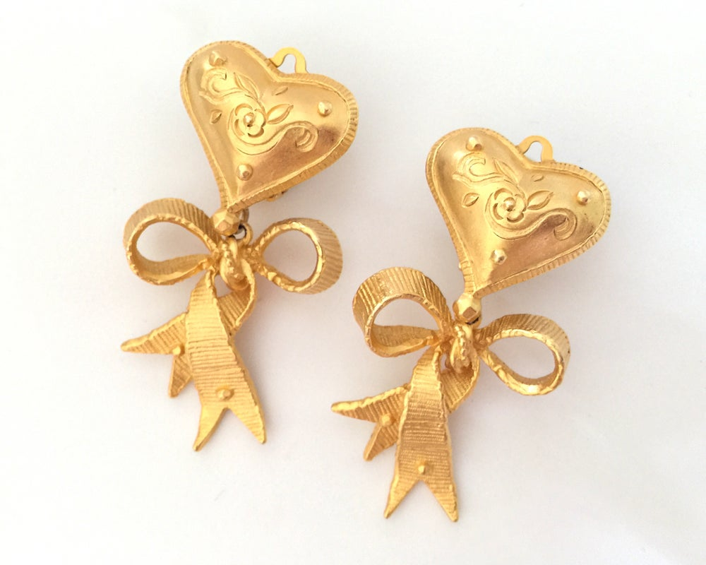 Image of Authentic Vintage CHRISTIAN LACROIX Heart Ribbon Bow Dangle Earrings