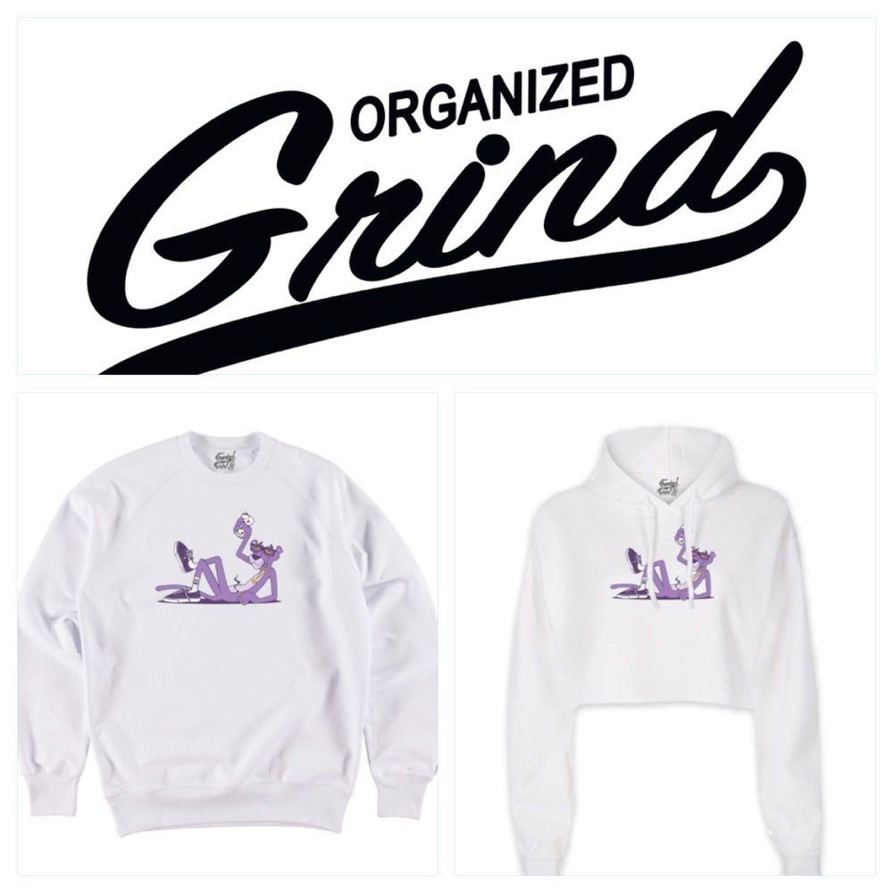 Image of Purple Panther Crewneck & Ladies Crop Top Hoodie