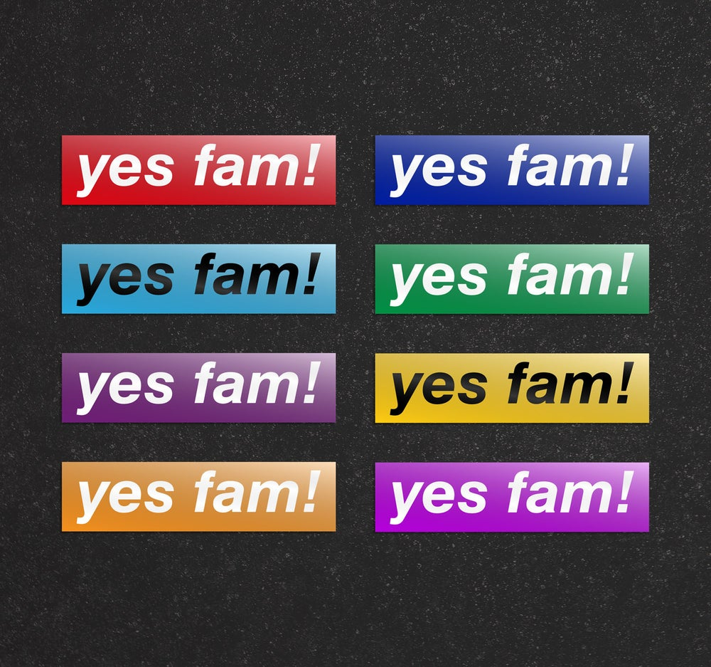 Image of yes fam! Board Stickers x 4