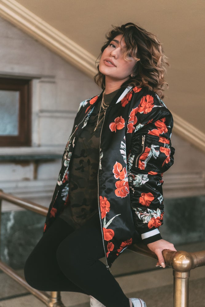Image of FLORAL BOMBER (BLACK)
