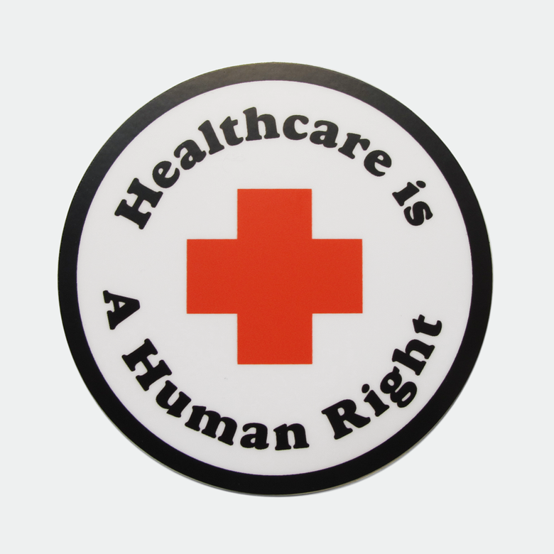 "Image of Healthcare is a Human Right 3"" sticker"