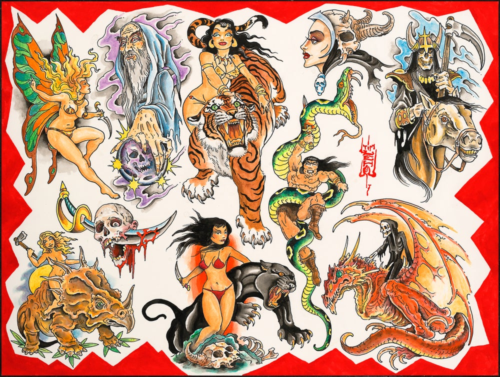 "Image of Tim Lehi ""Savage Tails Tattoo Designs"" Poster"