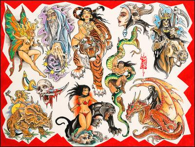 """Image of Tim Lehi """"Savage Tails Tattoo Designs"""" Poster"""