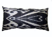 Image of black & white ikat cushion