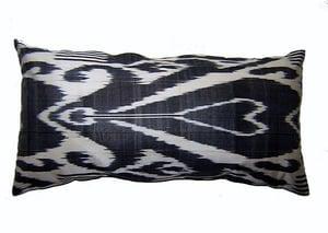 Image of black & white ikat cushion