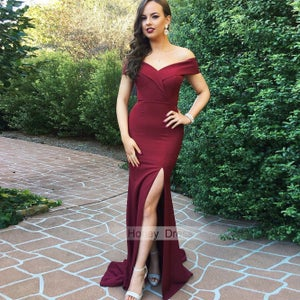 Image of Elegant Burgundy Jersey Off The Shoulder Long Formal Dress, Wine Red Evening Gown With Slit