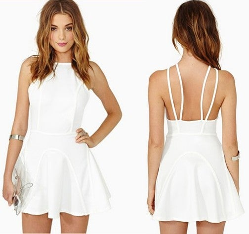 Image of White structured backless skater dress