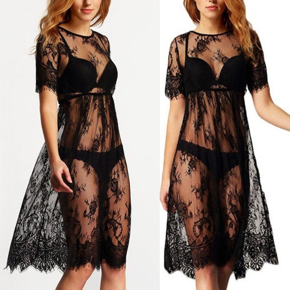 Image of Black Lace elasticated waist midi dress