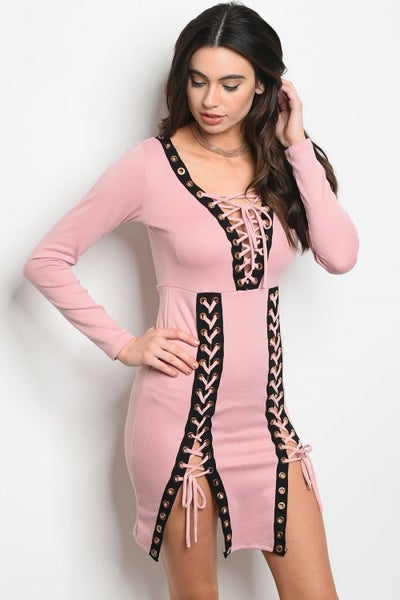 Image of Dusty pink lace up bodycon