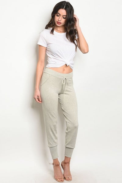 Image of Oatmeal knit joggers