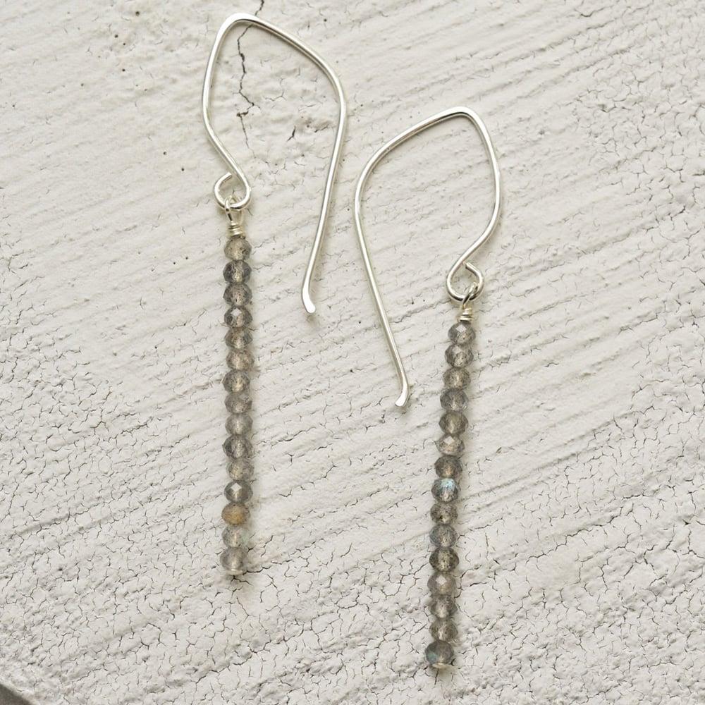 Image of Labradorite line earrings sterling silver