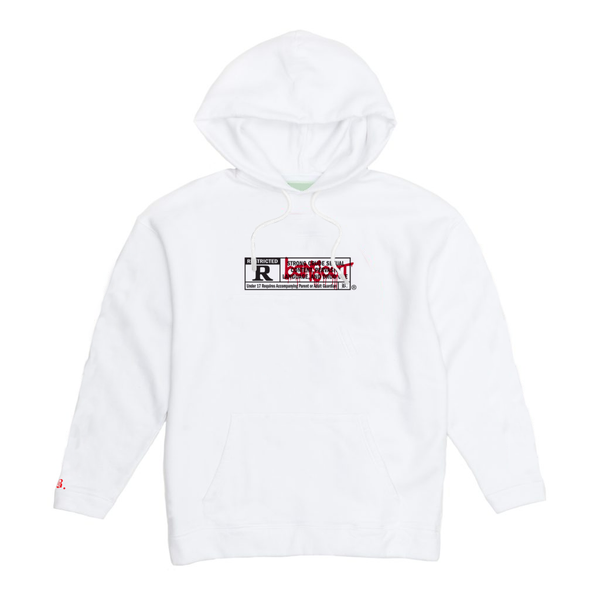 Image of RESTRICTED WHITE /17+ HOODIE