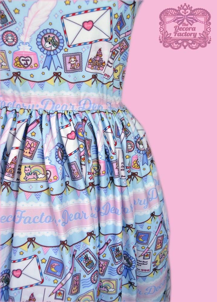 Image of Kira Kira Postal Stamps Skater Dress with Hidden Pockets