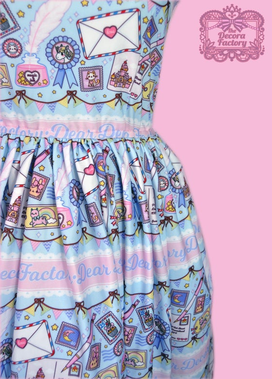 Image of Kira Kira Postal Stamps Skater Dress with Hidden Pockets