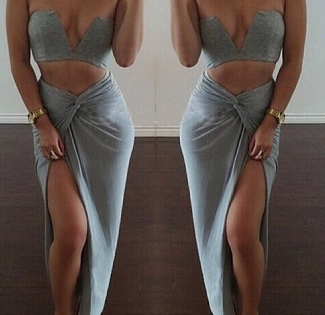 Image of Grey two piece bandeau top and maxi skirt