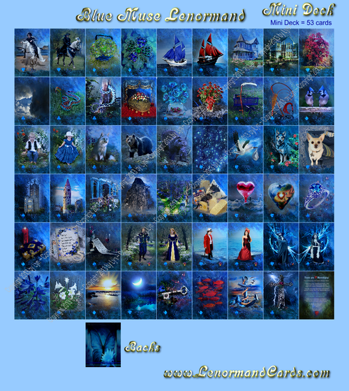 Image of Blue Muse Lenormand- 36 Traditional Cards - (also other sizes and options)