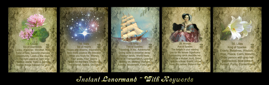 Image of Instant Lenormand Deck - WITH KEYWORDS - 36 Traditional Cards (also other sizes and options)