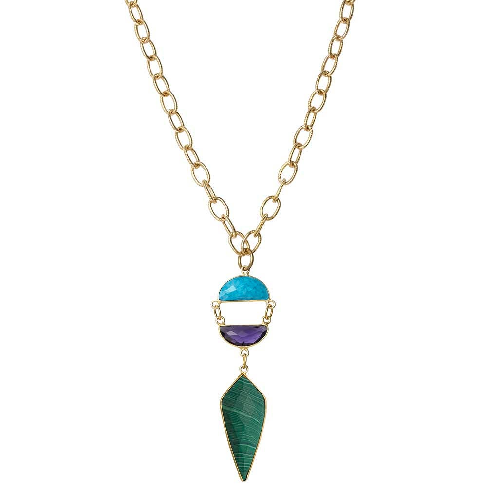Image of CRESCENT GEM & ARROWHEAD NECKLACE