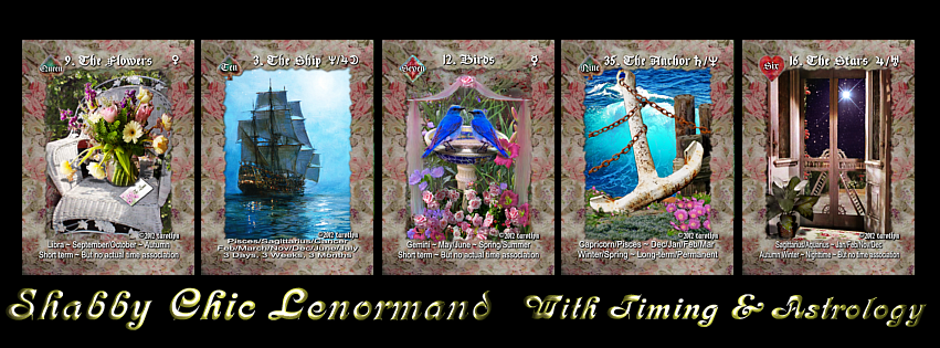 Image of SHABBY CHICNESS Lenormand Deck-36 Traditional Cards WITH Timing & Astrological Symbols -more options