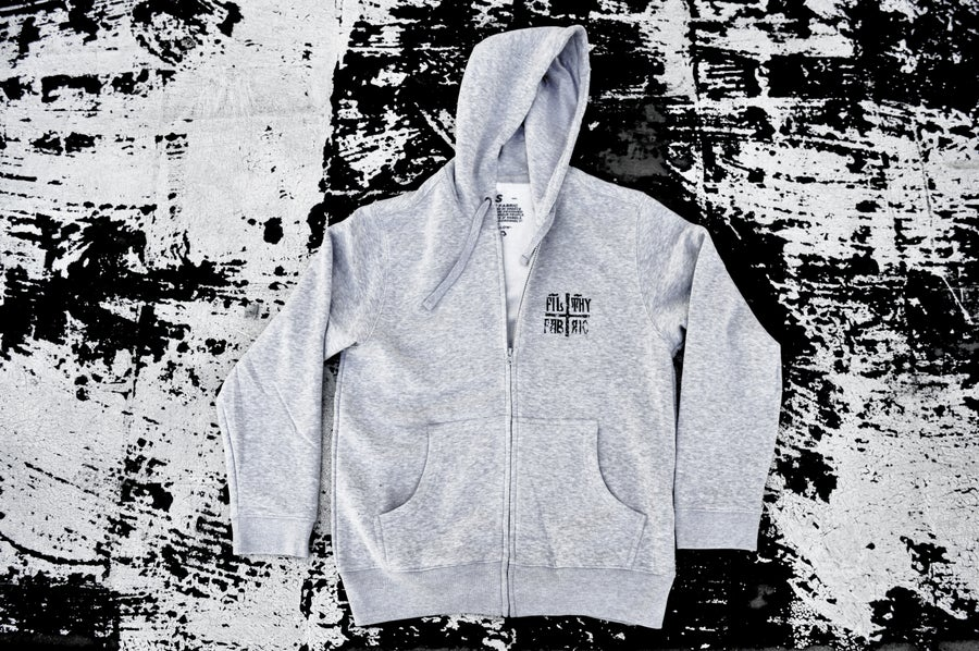 "Image of ""Deer Lord"" Ash Grey ZipUp Hoodie / Black Print"