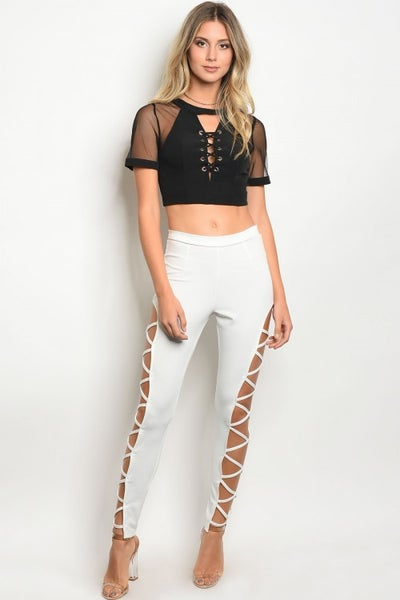 Image of White cut out pant